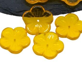Dark Yellow 20mm Flower Czech Glass Beads, Floral Flower Bloom Large Bead x 10