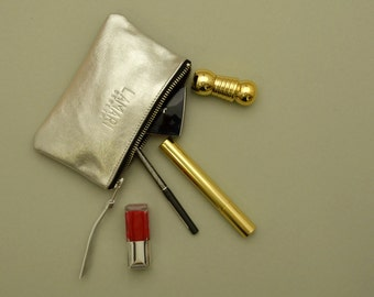 Leather Cosmetic Pouch JUNE SMALL Silver