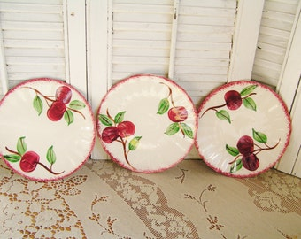 Vintage Set of 3 Blue Ridge Southern Potteries Crab Apple Dessert or Bread and Butter Plates Hand Painted Country Kitchen