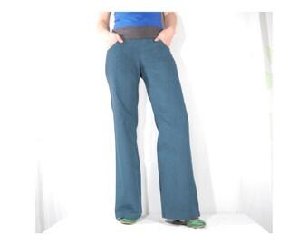 Corduroy pants Lola grey blue