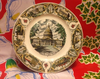 Vintage ceramic Washington DC  souvenir plate- a Capsco Product