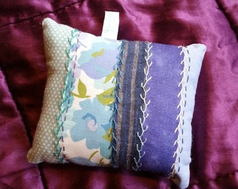 Recycled Blue Cotton Pincushion with Hand Embroidered Detail