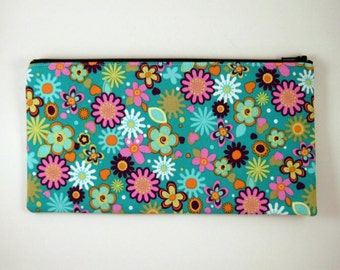 Flowery Zipper Pouch, Make Up Bag, Pencil Pouch, Gadget Bag