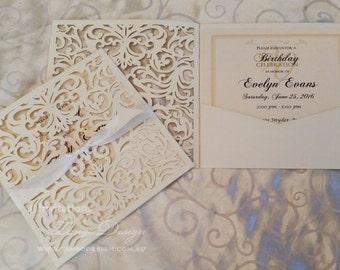 Lasercut INVITATION pocket Laser Cut Wedding Invitations 50 Pearl pocketfold vintage design Bat mitzvah christening 1st birthday invites