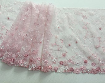 """9.5"""" (24cm)embroidered tulle pink chantilly lace - by the yard"""