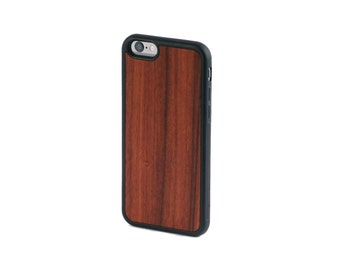 Real Rosewood Wood iPhone 6, 6S, 6 Plus, 7, 7 Plus Case with Bumper Edge