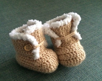 Baby booties, baby shoes, boots, tan, buttoned, photo prop, baby shower gift, newborn gift, new baby shoez