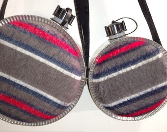 """Vintage Miner's Trading Blanket Canteen 9x4"""" and 7""""x 3"""""""