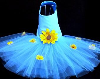 Sunflower Lass Dog Harness Dress XXSmall Dog Dress to X4 Large Dog Dress, Dog Dresses. Dog Clothes, Blue Dog Dress, Designer Dog Dress.