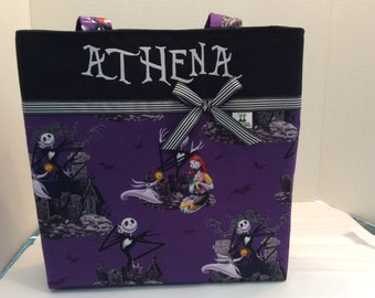 Personalized small ribbon tote made with The Nightmare before Christmas fabric