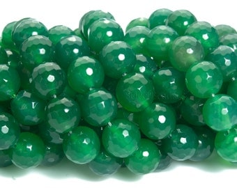 natural green agate faceted beads - green semi precious stone beads - green semi precious gemstones - 4-12mm faceted round beads - 15inch