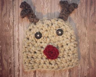 Reindeer hat, Christmas hat, baby reindeer crochet hat