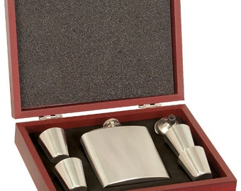 Stainless Steel Flask Gift Set with Wood Presentation Box