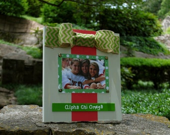 Alpha Chi Omega Large Bow Table Top Frame with Burlap Ribbon