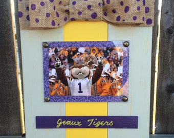 LSU Geaux Tigers Large Bow Table Top Frame with Burlap Ribbon