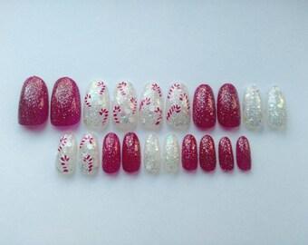 Candy cane fake nails
