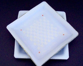 Lilac blue ceramic plates, blue square dishes, red dots, two dish set, unique handmade ceramics