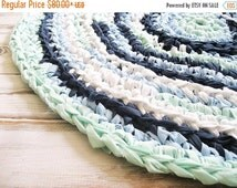CYBER MONDAY SALE Shabby Chic Home Decor | Boy Nursery Decor | Braided Rag Rug | Hand Crocheted Items Small Area Rugs | Handmade Rug