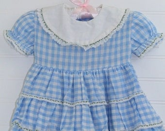 Vintage baby dress.  blue gingham dress with layered skirt, no name sz 12 mo