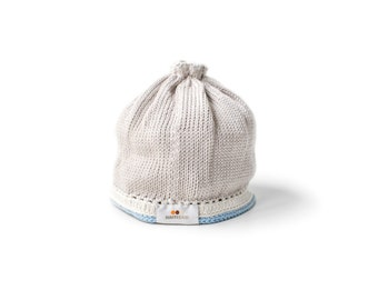Signature Baby Hat: Taupe Light Blue