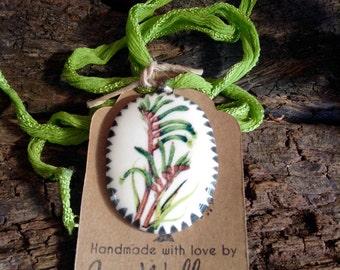 Ceramic Botanical Pendant Necklace Handmade - Australian Kangaroo Paw