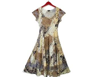 Spring Summer Dress Komarov Chiffon Dress Sheer Yoke Pleated Short Sleeve Animal Print Sz L teamvintageusa ecochic team