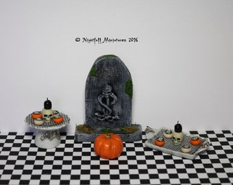 Dollhouse Miniature Gothic Tombstone and Halloween Cakes with Skull Candle in 1:12 scale