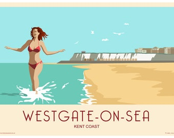WESTGATE ON SEA, Landscape. Railway Style Poster. A4, A3, A2