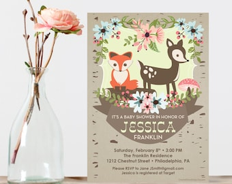 Woodland Baby Shower Invite - Baby Shower Invitation - Fox Baby Shower Invite - Gender Neutral Baby Shower - Gender Reveal Baby Shower