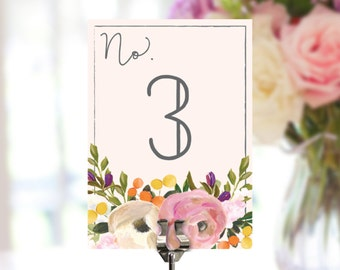 Table Numbers - Sweet Blooms Wedding Table Numbers - Bridal Shower Table Numbers - 5x7 Table Signs - DIY Table Numbers - Digital File - DIY