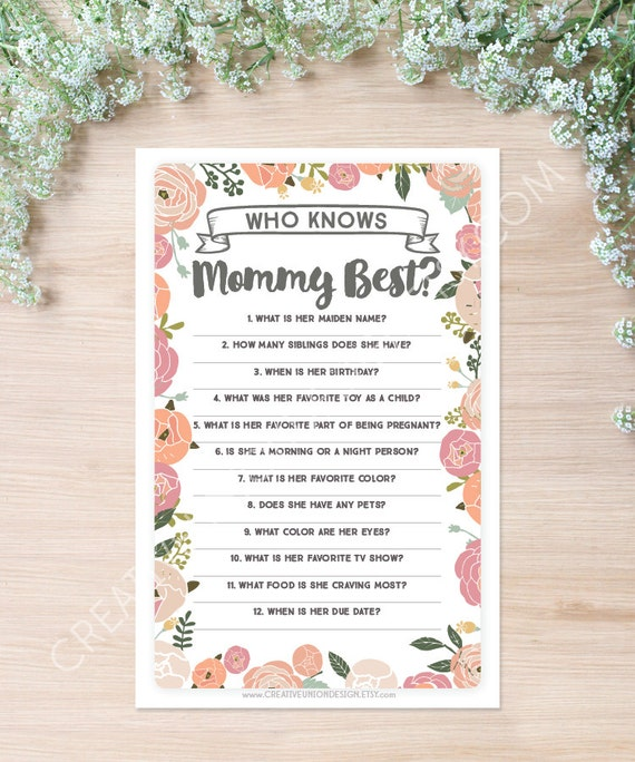 Who Knows Mommy Best Baby Shower Game By CreativeUnionDesign