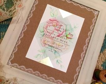 Hand drawn Wedding Invitation Keepsake featuring peonies wild roses and eucalyptus leaves