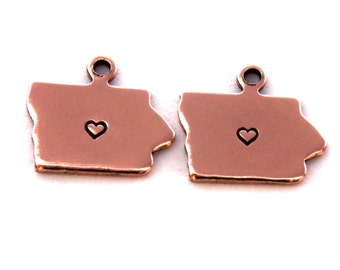 2x Rose Gold Plated Iowa State Charms w/ Hearts - M132/H-IA