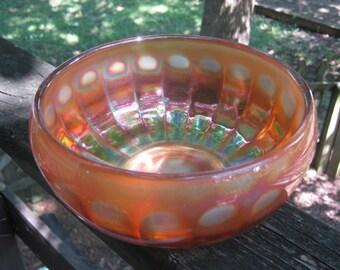 Marigold Carnival Glass Bowl, Irridescent Glassware