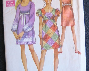 Simplicity #8639, Misses Empire Waist Dress Pattern, Copyright 1969, Size 12, Vintage Style 60's Dress Pattern, Vintage Sewing, Collectible