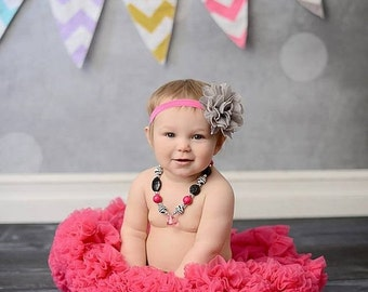 ON SALE Gray Flower Headband, Gray and Pink Headband, Baby Girl Headband, Large Flower Headband