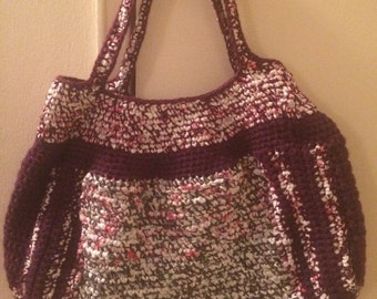 Crochet Plarn / yarn Combined Maroon Tote Bag