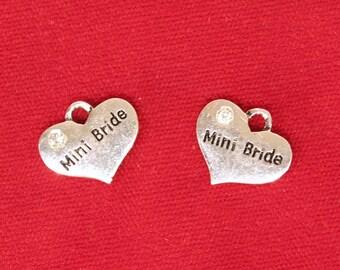 "BULK! 15pc ""mini bride"" heart charms in antique silver style (BC941B)"