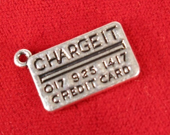 """5pc """"Charge it - credit card"""" charms in antique silver style (BC1032)"""