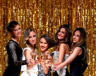 Gold Sequin Backdrop Curtain Golden theme Decor Bridal Shower Wedding Head Table Background Sparkly Sequins Party Photo Booth Ready to ship
