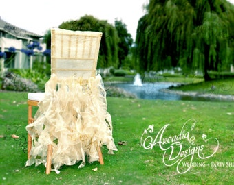 Light Golden Ivory Bridal Chair Cover Wedding Ruffle Chair Decoration Willow Slipcover for Event Reception Bridal Shower Wedding Reception