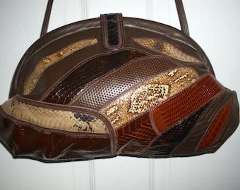 Vintage Palizzio Brown leather Snakeskin Shoulder/Clutch Bag, Vintage Handbag