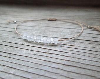 delicate RAINBOW MOONSTONE bracelet on a silk cord with an adjustable sliding knot gemstone thin minimalist June birthstone