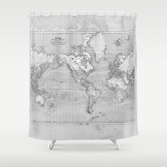 Shower Curtain - Minimalist Grey Vintage Map - Home Decor travel decor wanderlust - Mercator projector map , Bathroom