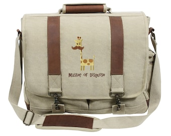 Master of Disguise (Applique) Embroidered Canvas with Leather Accents Premium Laptop Bag