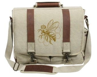 Queen Bee Embroidered Canvas with Leather Accents Premium Laptop Bag