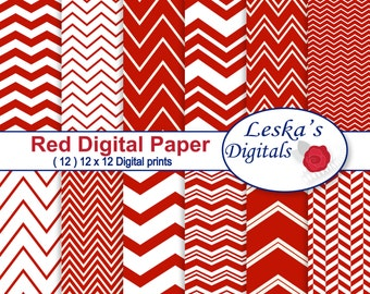 Red Chevron Digital Paper, Chevron Scrapbooking Paper, Red Digital Background, Red Printables, Personal And Commercial Use, Instant Download