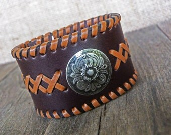 Brown leather bracelet cuff with conchos and tan laces, size XS and M, snaps closure, Western Country style