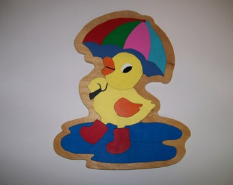 Wooden Puzzle Duck In The Rain