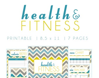 Instant Download - Health & Fitness Planner Chevron Printable Organizer  - (Organized Family Binder)